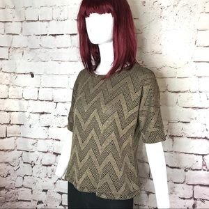 CHICO'S Size 1 tan and black knit short sleeve top